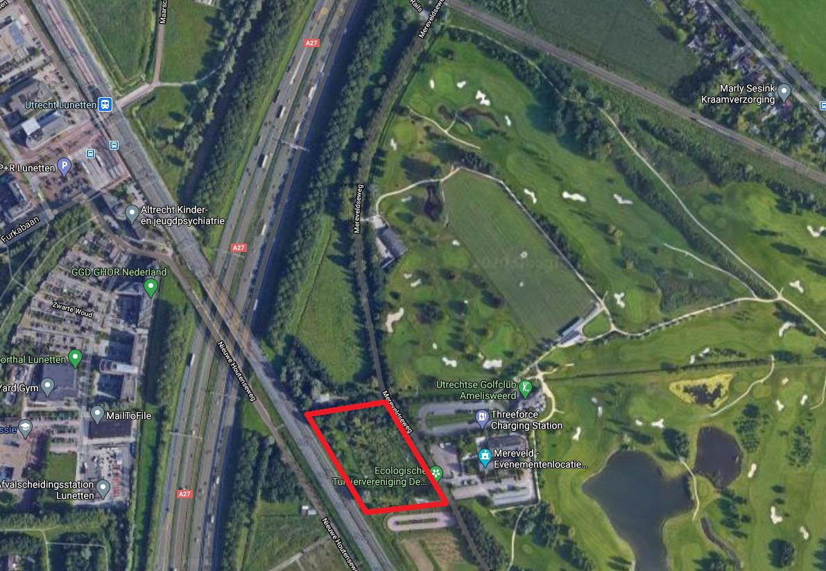 Kaartje met in rood gearceerd het terrein van tuiniersvereniging De Nijvere Pier